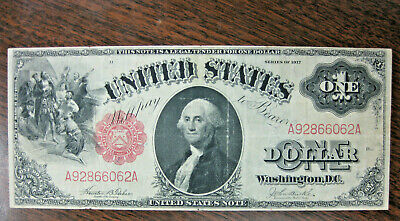 "SERIES OF 1917 Large~1 Dollar Bank Note ""saw horse' RED SEAL~ George Washington"