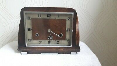 """Norland""  Art Deco Westminster Chime Oak Mantel Clock. Working."