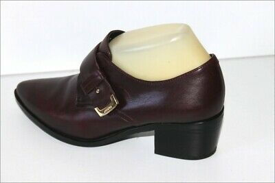Geox Respira Leather Court Shoes Bordeaux Lined Leather T 37 Very Good Condition