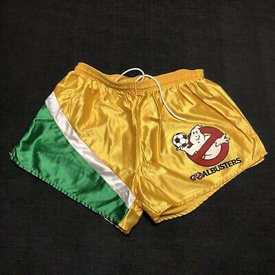 Vintage 90s Ghostbusters GOALBUSTERS Soccer Satin Shorts Yellow Green Youth
