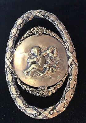 Antique Vintage Art Nouveau Estate Cherub Wreath Rose Brooch 68 Grams- Heavy