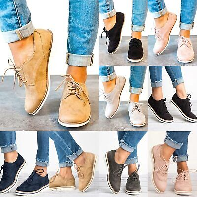 92fb21f85c5ce Womens Ladies Flat Heels Lace Up Brogues Casual Smart Loafers Shoes Sizes  3.5-8