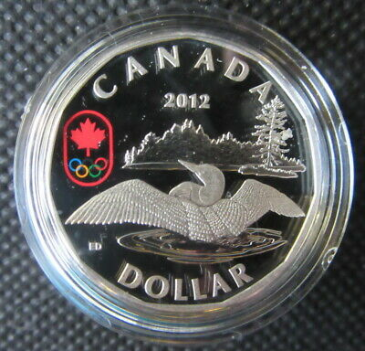 2012 Canada Fine Silver Colorized Lucky Loonie w COA, Box & Sleeve