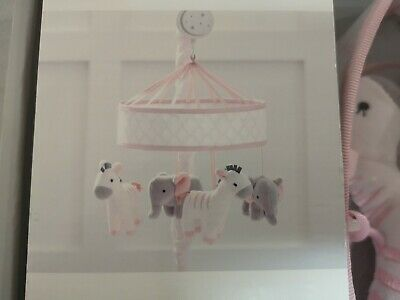 Just Born Musical Mobile And Matching Plush Blanket - Pink and Gray, New