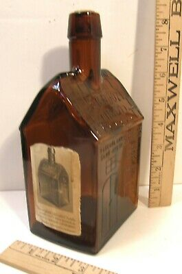 Vintage Reproduction Brown Amber Glass Bottle E G Booz Old Cabin Whiskey Empty