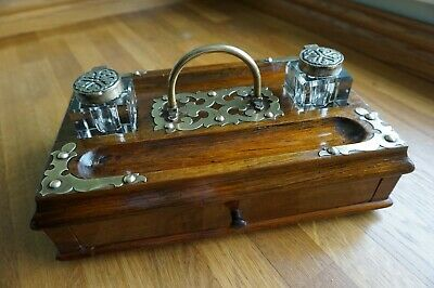 Antique Solid Oak Desktop Writing Stand/ Box with Glass Inkwells