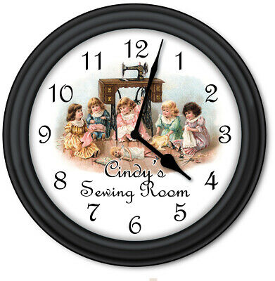 Sewing Room PERSONALIZED Wall Clock -  Antique Doll Sewing Machine Black GIFT