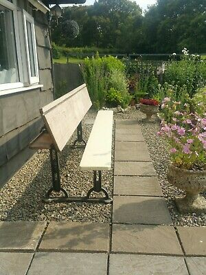 Vintage cast iron garden Bench/Writing Slope/Table exSchool Church Delivery poss