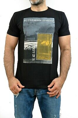 BNWT CK Calvin Klein Jeans Black Yellow we are American Retro T SHIRT Sculpted
