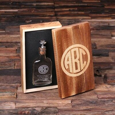 Personalized Scotch Whiskey Hip Flask w/ Optional Wooden Gift Box Customized