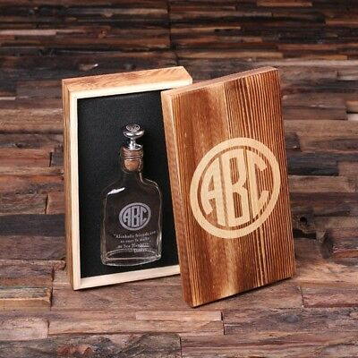 Personalized Vintage-Style Glass Whisky Hip Flask w/ Engraved Wooden Gift Box