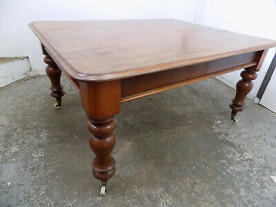 mahogany,dining table,turned legs,castors,library,table,dine,antique,victorian
