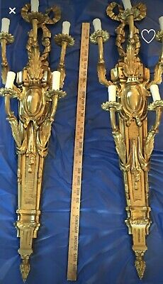 "Antique Pair French Bronze Brass Palatial 5 Light Wall Sconces Scone 38"" Bow"