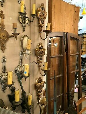 Set of Three Brass Beaux Arts Wall Sconces with New Wiring