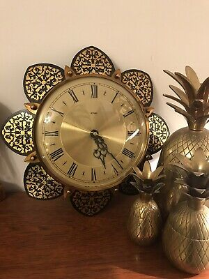 Mid Century Metamec Made in England black and gold etched detail sun burst Clock