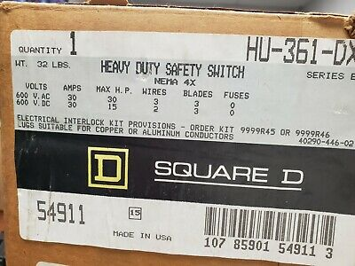Hu361Dx Square D New In Opened Factory Box Free Priority Shipping