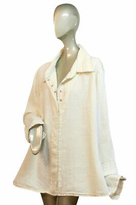 "CYNTHIA ASHBY Off White SNAP BUTTON LINEN SHIRT Top L May fit XL 48"" Bust"