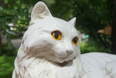 """Vintage Homco White Large Persian / Maine Coon Cat Statue Figurine 13 3/4"""""""