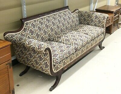 Duncan Phyfe Style Carved  Mahogany Claw Feet Long Couch Sofa