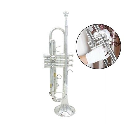 Trumpet Bb B Flat Brass Exquisite with Mouthpiece Gloves For Beginner F0C8