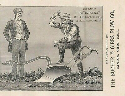 """ANTIQUE 1800s """" THE IMPERIAL PLOW."""" BUCHER & GIBBS PLOW Co. TRADE CARD.*"""