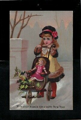 Antique 1800s New Year Greeting Card Child w/ Carriage/ Doll Made Great Britain