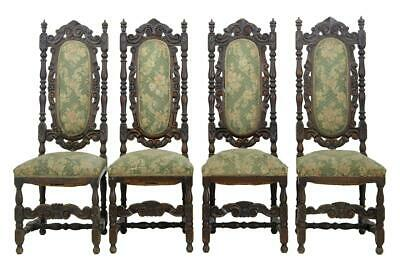 Set Of 4 19Th Century Carved Oak Dining Chairs For Restoration