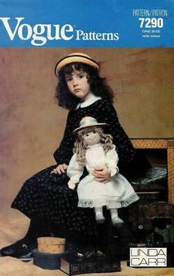 Vogue Linda Carr cloth doll pattern iron on face dress Victorian style wardrobe