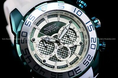 Invicta Men 50MM Speedway Ocean Green & White Silicone Strap Chronograph Watch