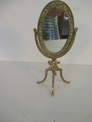 "Vintage 8.5"" Oval Cherub Angel Mirror Swivel Small Mini Ornate"
