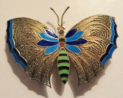 Beautiful Estate 800 Silver LARGE Filigree & Enamel Butterfly Pin Brooch