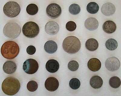 Original  WW I  WW II Time and later  30 Coins from Germany Soldiers and World