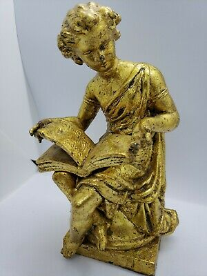 Vintage gilded metal statue of a classical Greek girl reading a book gold leaf