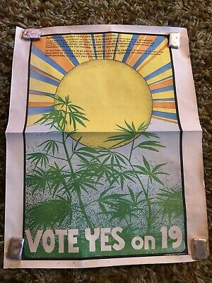 Vintage Pair 1972 poster California Marijuana Initiative Yes On Prop 19