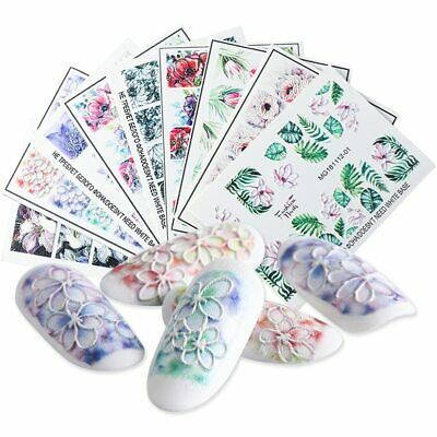 3D Embossed Nail Sticker Decals Water Flower Acrylic Engraved Slider Nail Art