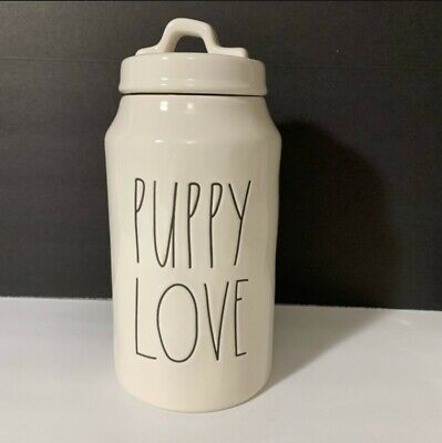 """Rae Dunn Artisan Dog Canister """"PUPPY LOVE"""" New! HTF! *LOW Shipping!* NWT"""