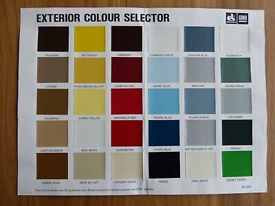 Holden Exterior Colour Selector Chart 1982 Genuine (Not A Copy!)