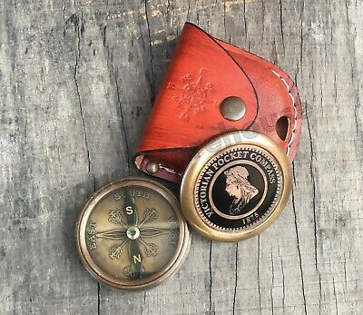 Handmade Working Compass Nautical Antique Brass Pocket Compass With Leather Case