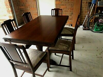 Refurbished Art Deco Dining Table and six re-upholstered chairs