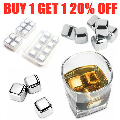 4/6/8 Metal Whisky Stone Cooling Cold Wine Stones Rocks Bag Ice Cubes with Box