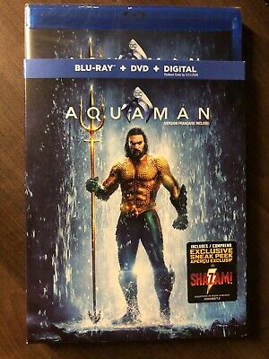 NEW DC Aquaman Blu-Ray & DVD & Digital Copy w Slipcover Canada Bilingual SEALED