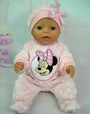 "Dolls clothes for 17"" Baby Born doll~ SOFT PINK MINNIE MOUSE BOBBLE JUMPSUIT~HAT"