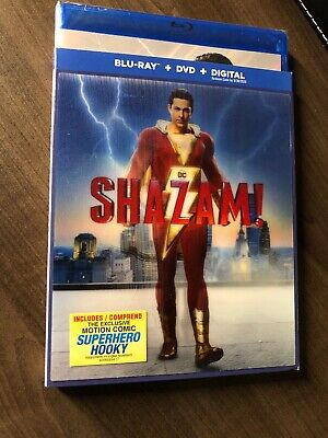 Shazam 2019 Blu-Ray & DVD w Slipcover Canada Bilingual NO DC LOOK Hologram Art