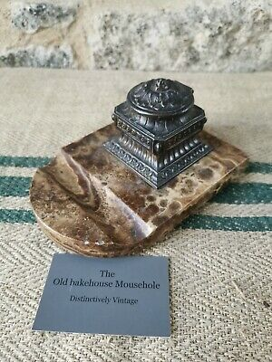 A French 19th century Bronzed And Marble Inkwell