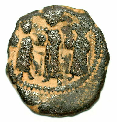 BYZANTINE BROZNE COIN FOLLIS Heraclius with sons large M year XI or X AE24