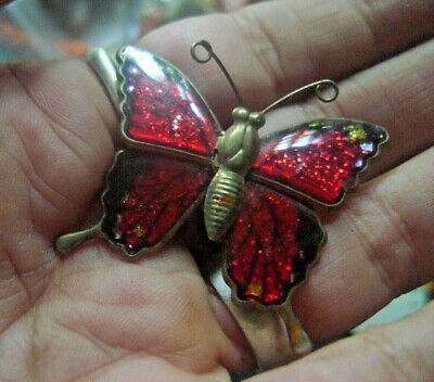 Vintage Estate Butterfly Brooch Red Enamel Japanese -Any 2 +post all Free