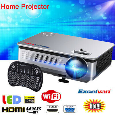 HD Smart Android Projector Home Cinema WiFi Movie Video 1080p HDMI Multimedia