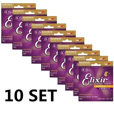 10SET 16002 Elixir Acoustic Nanoweb Phosphor Bronze Extra Light Guitar Strings