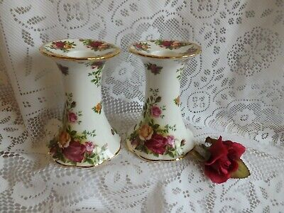 Stunning Vintage Bone China Royal Albert Old Country Rose Pair Of Candle Holders