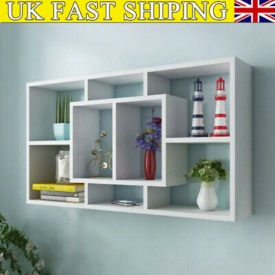 Space Saving Floating Wall Shelves Display Shelf Bookshelf 8 Storage Unit New